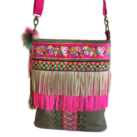 Boho crossbody with neon colors and army green