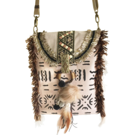 Crossbody bag ethnic style in cream and brown with fringe, pompom