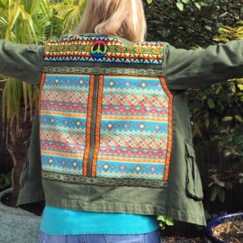 Embellished denim jacket khaki colored Aztec