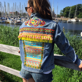 Embellished denim jacket colored Aztec with yellow