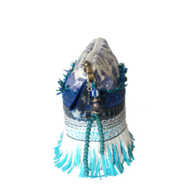 Boho pouch in blue white with fringe