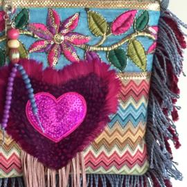 Festival bag with heart Ibiza style fuchsia blue