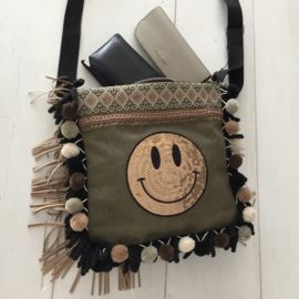 Canvas schoudertas met smiley patch en pompons