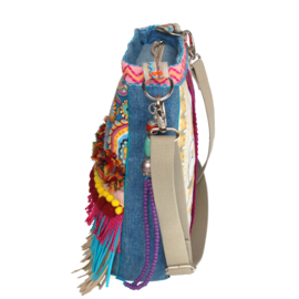 Flower crossbody hippie style colored with fringes