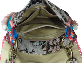 Ibiza crossbody bag old pink roses with pompons