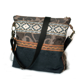 Boho crossbody bag Navajo style brown with fringes