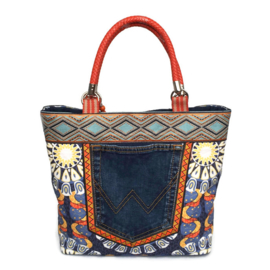 Tote handbag in blue and orange Iibza style flowers