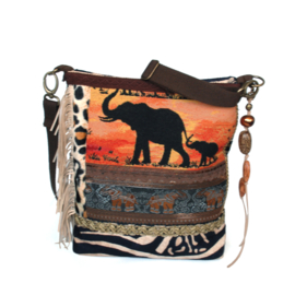 Elephant crossbody bag with leopard print brown