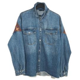 Oversized boho western jacket met sierband en lange franje