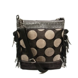 Crossbody in black grey with circles and pompons
