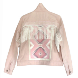Pink decorated denim jacket in Aztec style with fringe