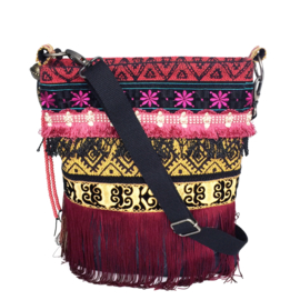 Crossbody bag bohemian gypsy style very long fringe