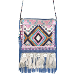Festival bag Ibiza style in blue and pink with coins