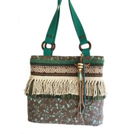 Tote handtas in bruin en turquoise met franje