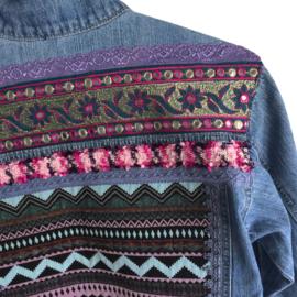Embellished denim jacket Aztec style with Indian trim