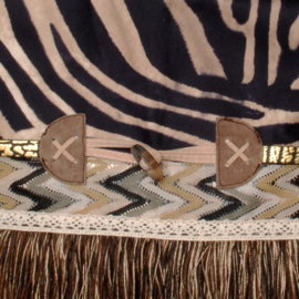 Crossbody bohemian brown with zebra print and long fringe