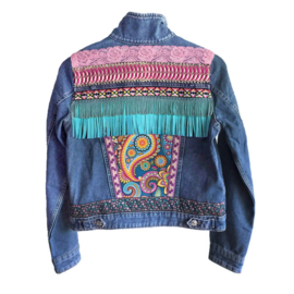 Embellished denim jacket colored Ibiza style paisley print