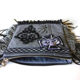 Festival purse creepy black grey with cross and fringe