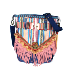 Ibiza crossbody bag colored striped with fringes