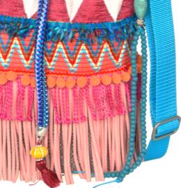 Ibiza bucket bag pink turquoise with fringes