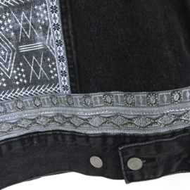 Black embellished denim jacket boho style with western fringe