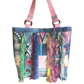 Big tote handbag patchwork jeans with colored fabrics in Ibiza style