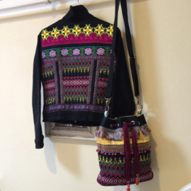 Embellished denim jacket black in Mexican Aztec style