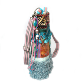 Ibiza crossbody turquoise pink with teddy fur