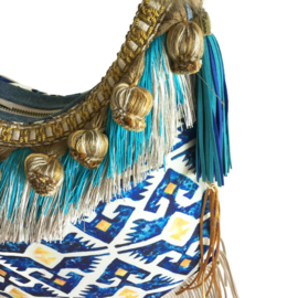 Crossbody bohemian in blue and yellow in boho style