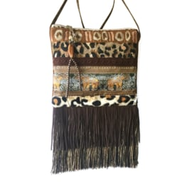African festival purse brown elephants leopard