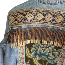 Embellished denim jacket bohemian with flower and fringe