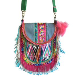 Boho crossbody bag multi colored Ibiza style fringed