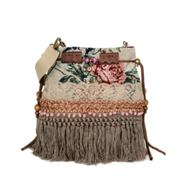 Bucket bag boho in vintage style with roses