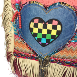 Festival purse with fringe and heart in Ibiza style