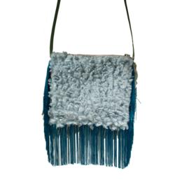 Festival purse boho style turquoise fake fur