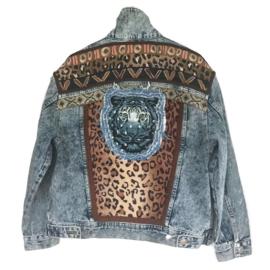 Embellished denim jacket with leopard print and tiger head