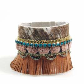 Boho western bracelet leather cow fur with Swarovski and fringe