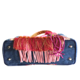 Ibiza tote handbag jeans with colored ribbons