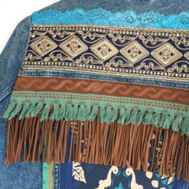Embellished denim jacket boho western brown turquoise