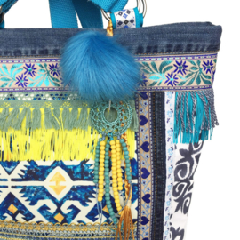 Tote handbag in turquoise yellow boho style