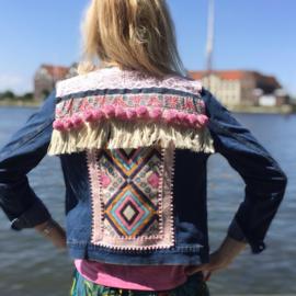 Embellished denim jacket blue pink with big pompons
