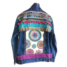 Embellished denim jacket dark blue Ibiza style colored