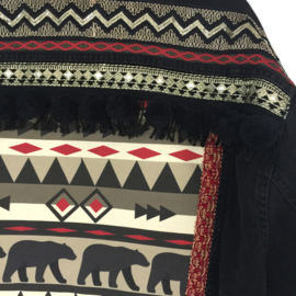 Embellished denim jacket black and red with bears