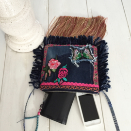 Ibiza festival purse with patches butterfly and roses