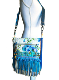 Crossbody with flowers in turquoise yellow Ibiza style