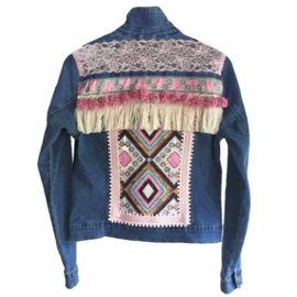 Embellished denim jacket blue pink with big pompons