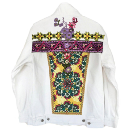 White decorated denim jacket with colored flower patches