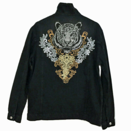 Black denim jacket with tiger patch and ornaments in gold and silver