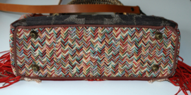 Handbag boho style brown red with fringes and flower