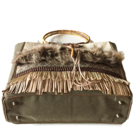 Tote handbag brown western faux fur and fringes